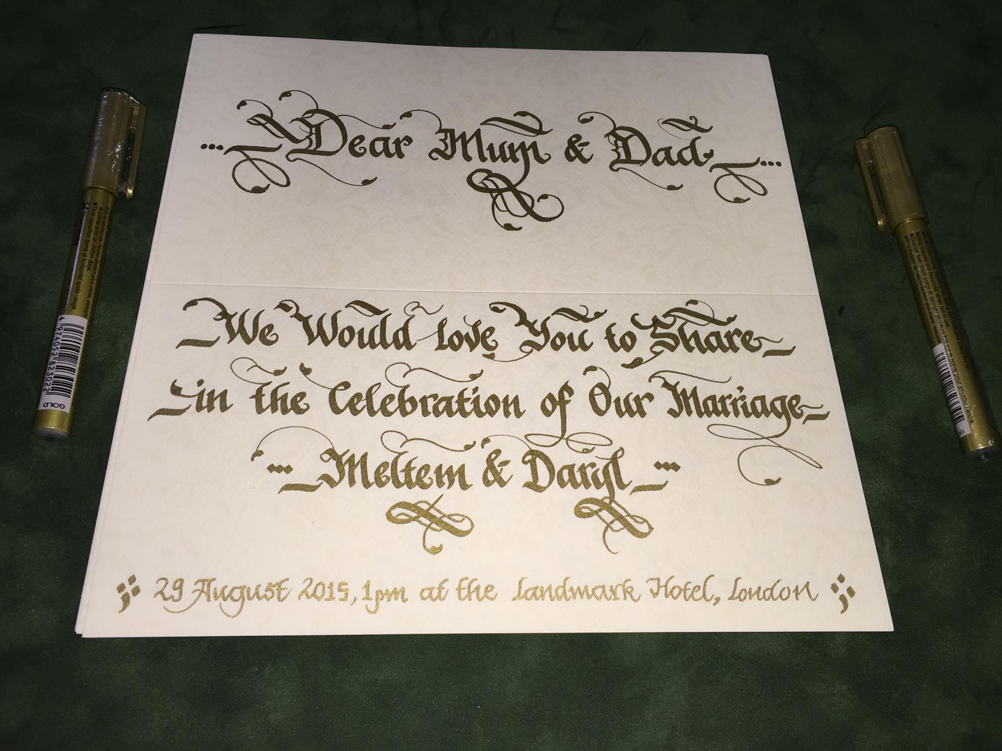 davetiye üzeri ingilizce yazı
