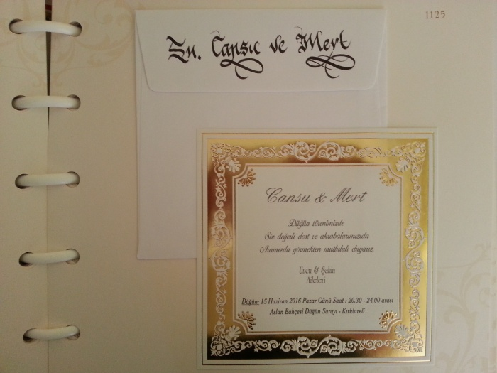 davetiye zarfı üzerine isim yazdırma