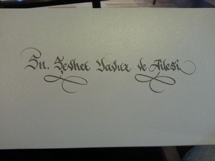 kaligrafik davetiye, davetiye yazımı ankara, kaligrafi davetiye, davetiye üzeri kaligrafi