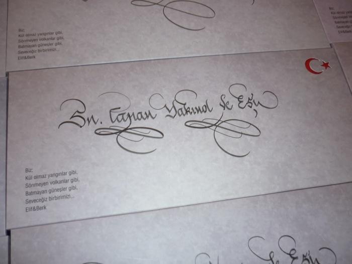 Kaligrafi Ankara Hattat Davetiye Yazısı