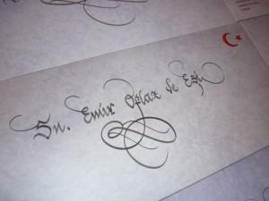hattat davetiye yazımı , davetiye zarfı üzeri kaligrafik yazı