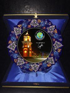 Logo baskılı çini tabak - kurumsal hediyelik